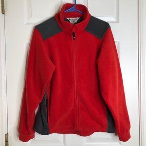 Columbia Red & Grey Fleece Jacket Size Small